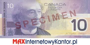 10 dolarów kanadyjska seria podróży awers