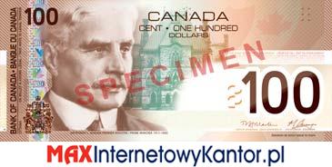 100 dolarów kanadyjska seria podróży awers
