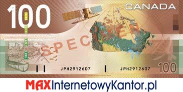 100 dolarów kanadyjska seria podróży rewers