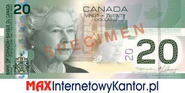 20 dolarów kanadyjska seria podróży awers