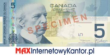 5 dolarów kanadyjska seria podróży awers