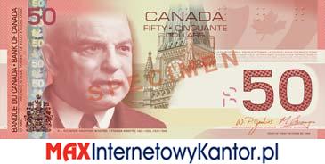 50 dolarów kanadyjska seria podróży awers