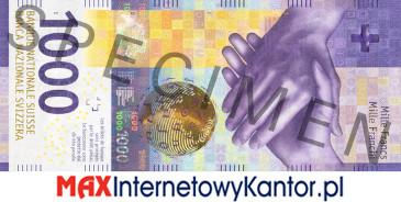 1000 franków szwajcarskich 9 seria awers