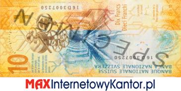 10 franków szwajcarskich 9 seria awers