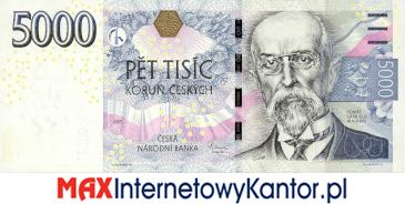 5000 koron czeskich 2009 wersja awers