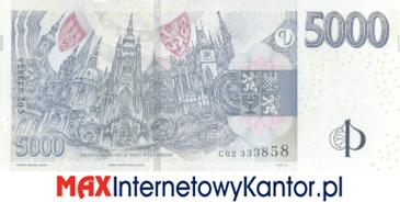 5000 koron czeskich 2009 wersja rewers