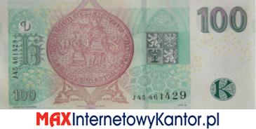 100 koron czeskich 2018 wersja rewers