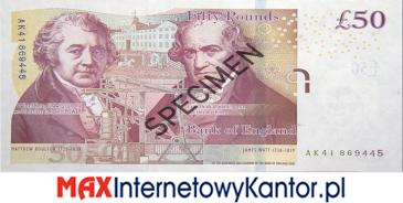 50 funtów brytyjskich 2011 r. awers
