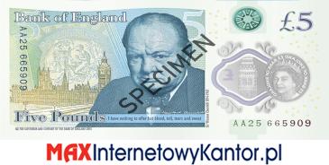5 funtów brytyjskich 2016 r. awers