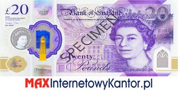 20 funtów brytyjskich 2020 r. awers