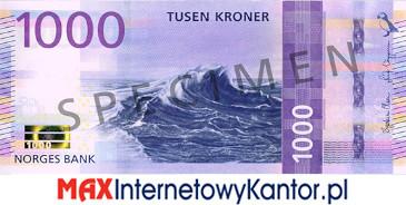 1000 koron norweskich awers