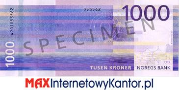 1000 koron norweskich rewers