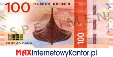 100 koron norweskich awers