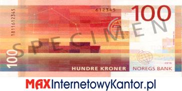 100 koron norweskich rewers