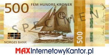 500 koron norweskich awers
