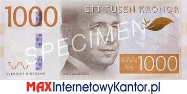 1000 koron szwedzkich awers
