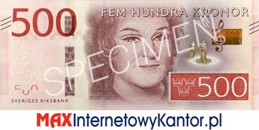 500 koron szwedzkich awers