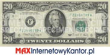 20 dolarów merykańskie 1990 r. awers