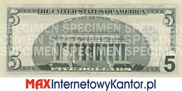 5 dolarów merykańskie 2000 r. rewers