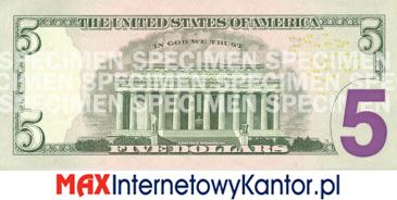 5 dolarów merykańskie 2008 r. rewers